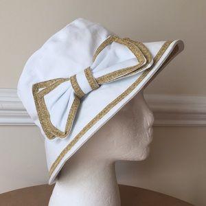 Scala Cotton white hat Bow woven trim